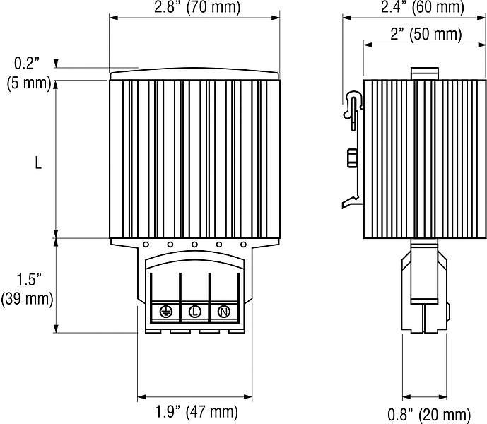 PTC Nema enclosure Heaters drawing